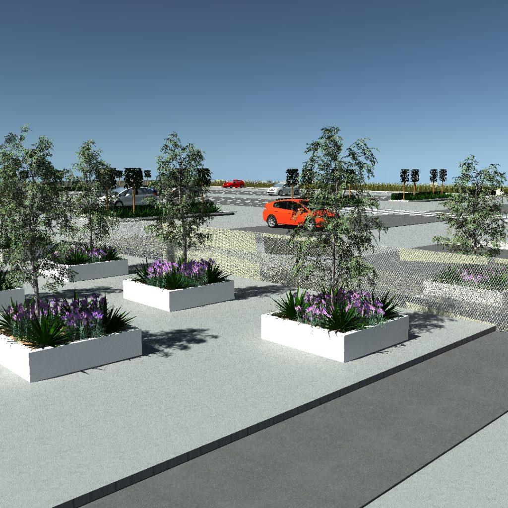 Projekt zieleni na parkingu firmowym